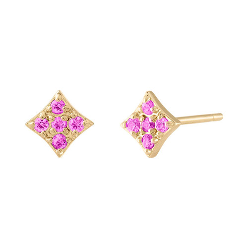 Essentials Stud Earrings with Pink Sapphire