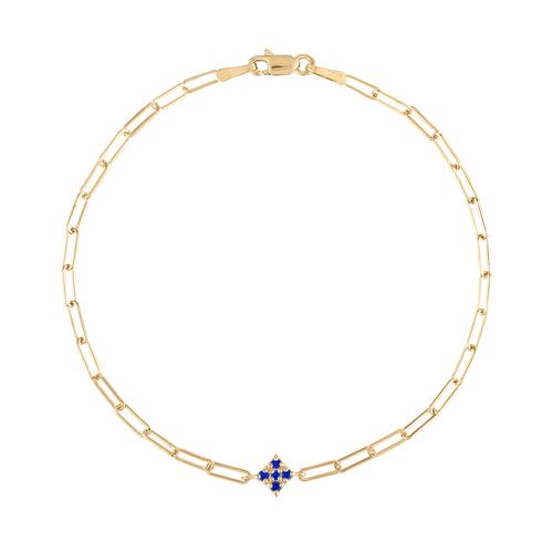 Essentials Blue Sapphire Paperclip Bracelet
