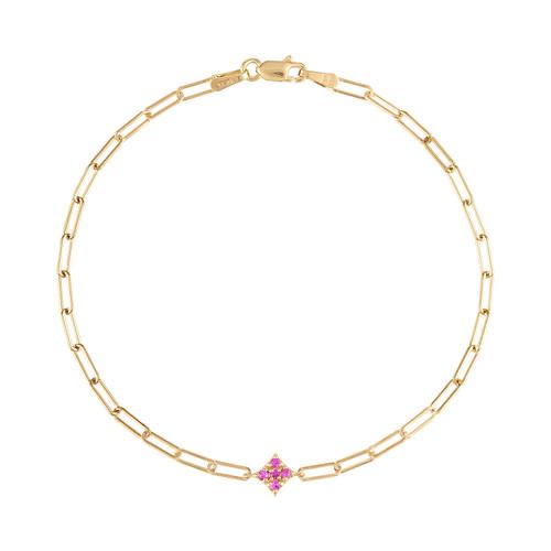 Essentials Pink Sapphire Paperclip Bracelet