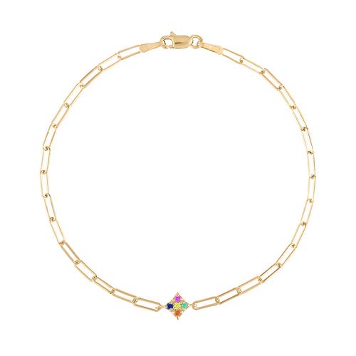Essentials Rainbow Gems Paperclip Bracelet