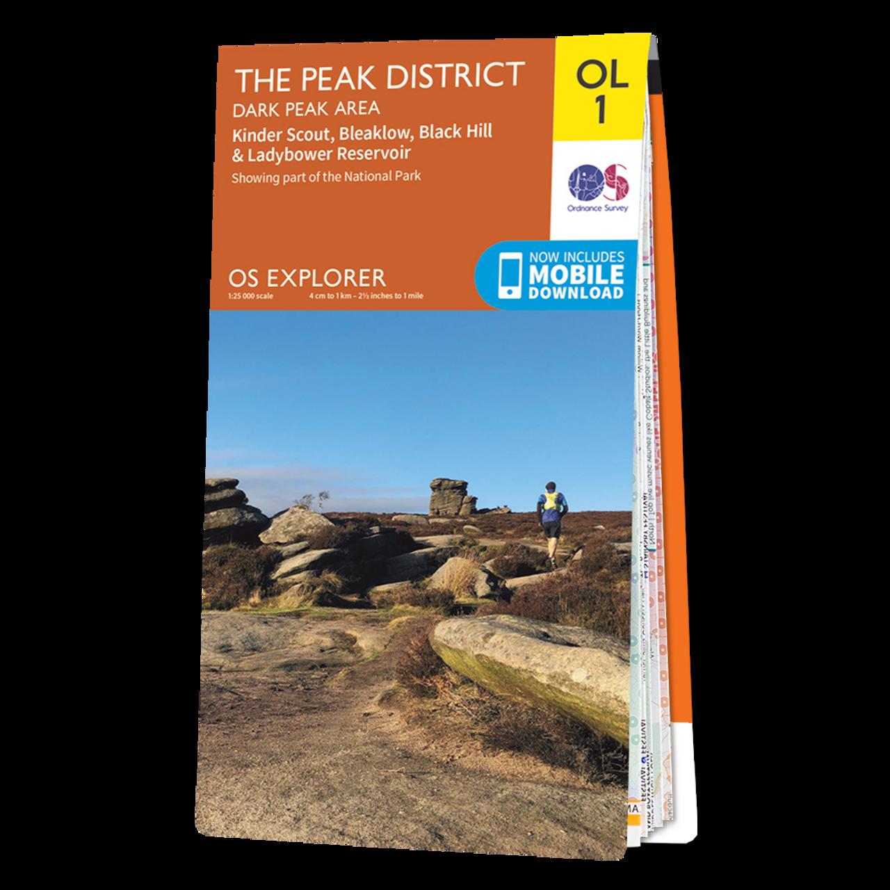 Map Of The Peak District - Dark Peak Area