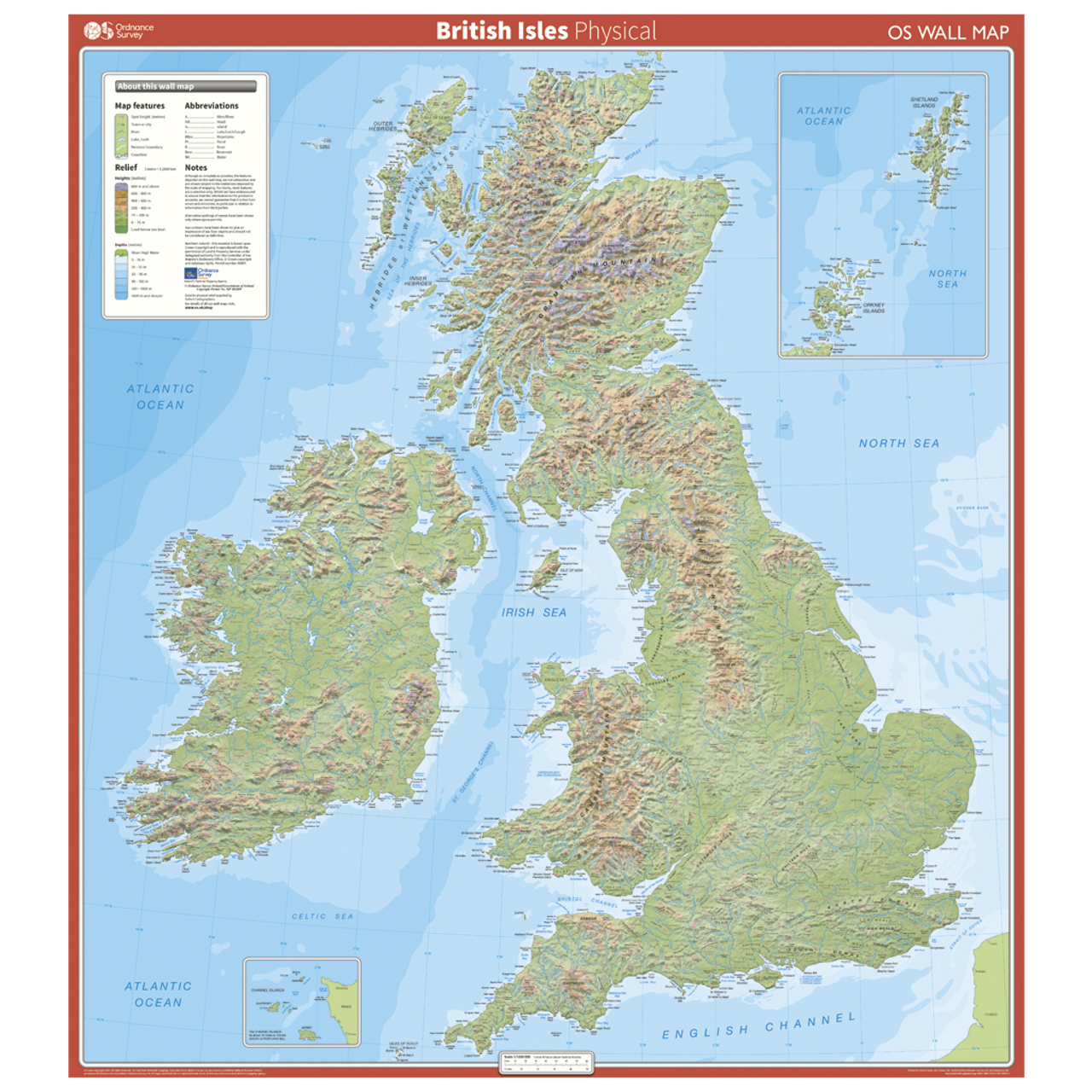Image of: British Isles Physical Features Wall Map Ordnance Survey Shop