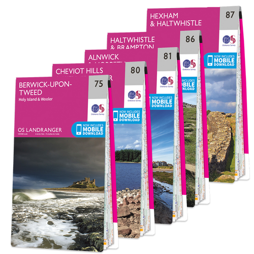 OS Landranger Northumberland map set
