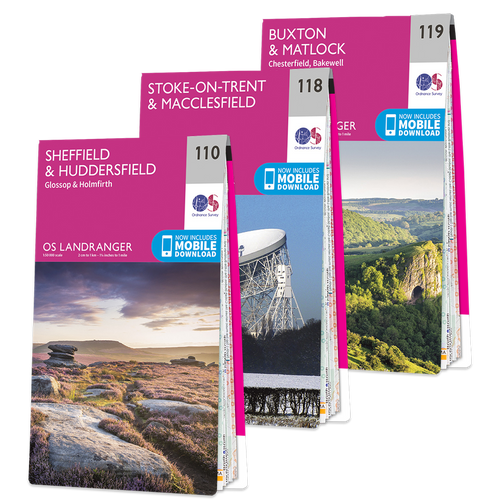 OS Landranger Peak District map set