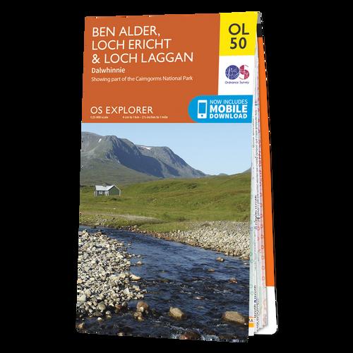 Map of Ben Alder, Loch Ericht & Loch Laggan