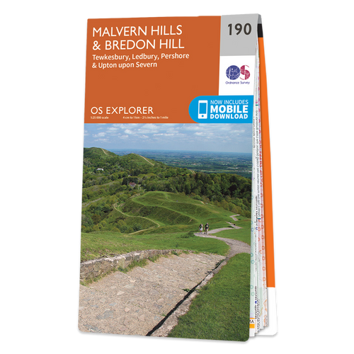 Map of Malvern Hills & Bredon Hill