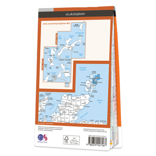 Map of Orkney - Sanday, Eday, North Ronaldsay & Stronsay