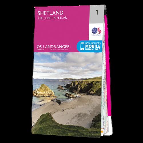 Map of Shetland - Yell, Unst & Fetlar