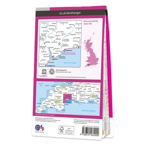 Map of Exeter & Sidmouth