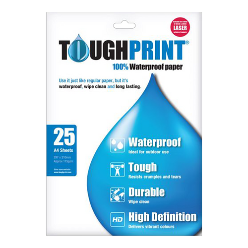 Toughprint A4 waterproof paper for laser printers