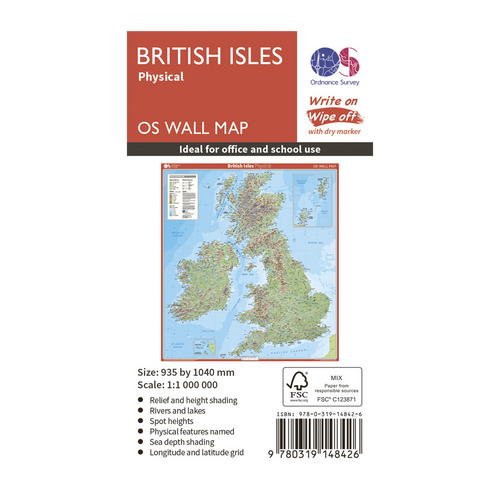 British Isles - physical features wall map