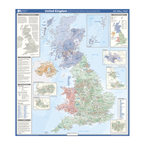 United Kingdom - administrative boundaries wall map