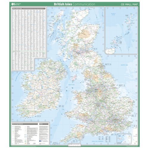 British Isles - communication wall map