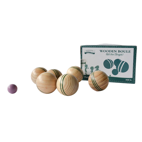 Wooden French boules game set