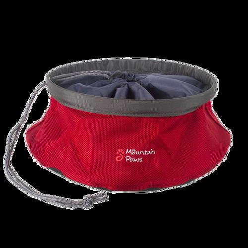 Mountain Paws large portable dog food bowl: red