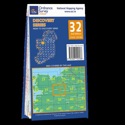 Map of County Mayo, Sligo and Roscommon: OSI Discovery 32