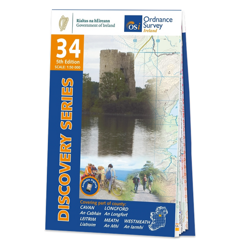 Map of County Cavan,Longford, Leitrim, Meath and Westmeath: OSI Discovery 34