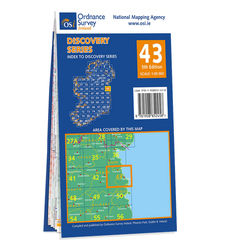 Map of County Dublin, Meath and Louth: OSI Discovery 43