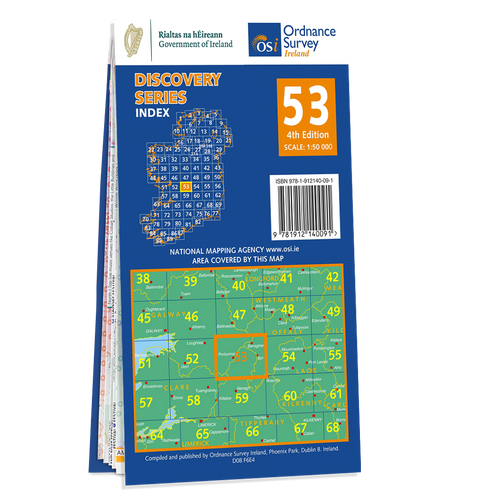 Map of County Clare, Galway, Offaly and Tipperary: OSI Discovery 53