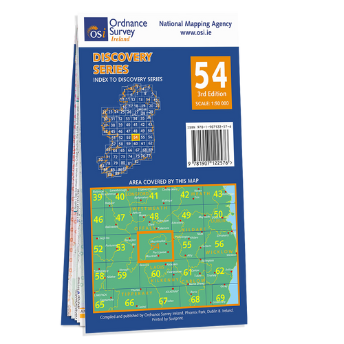 Map of County Laois, Offaly and Tipperary: OSI Discovery 54