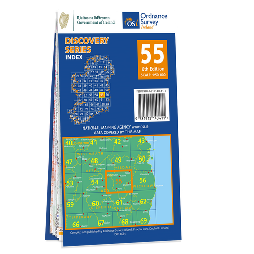 Map of County Kildare, Laois, Offaly and Wicklow: OSI Discovery 55