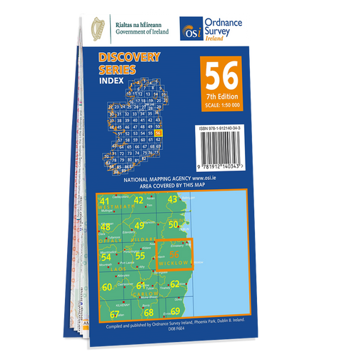 Map of County Dublin, Kildare,and Wicklow: OSI Discovery 56