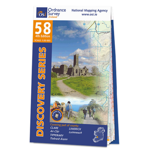 Map of County Clare, Limerick and Tipperary: OSI Discovery 58