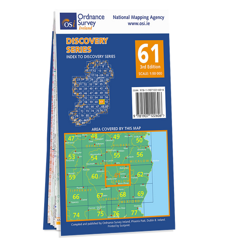 Map of County Carlow, Kildare, Kilkenny, Laois and Wicklow: OSI Discovery 61