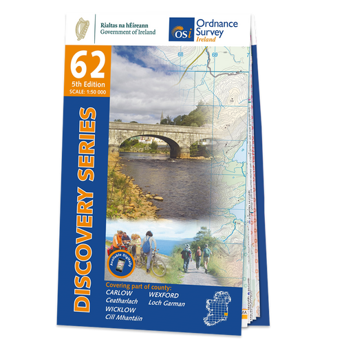 Map of County Carlow, Wexford and Wicklow: OSI Discovery 62