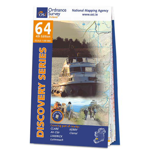 Map of County Clare, Limerick and Kerry: OSI Discovery 64