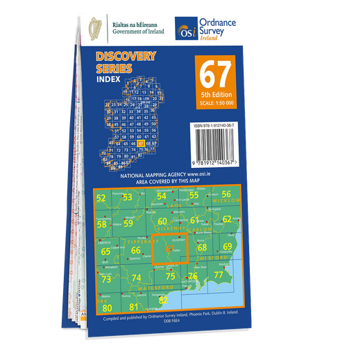 Map of County Kilkenny and Tipperary: OSI Discovery 67