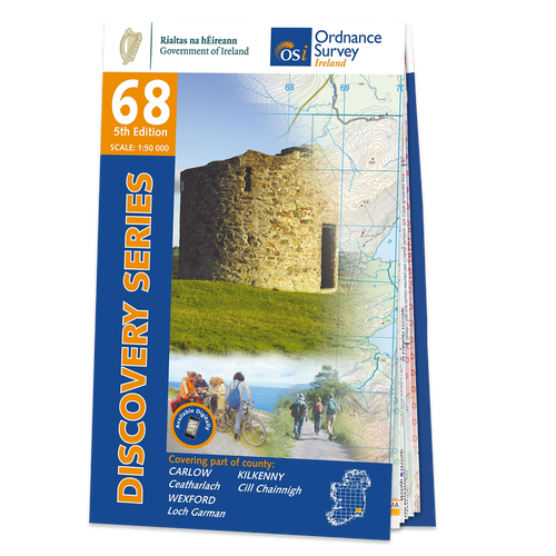 Map of County Carlow, Kilkenny and Wexford: OSI Discovery 68
