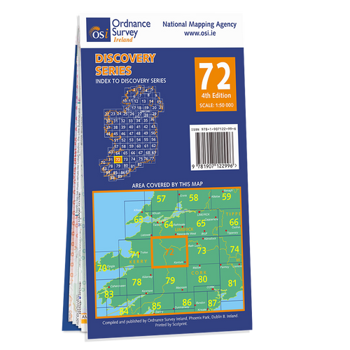 Map of County Cork, Kerry and Limerick: OSI Discovery 72