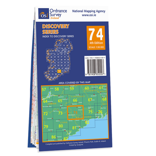 Map of County Cork, Limerick, Tipperary and Waterford: OSI Discovery 74