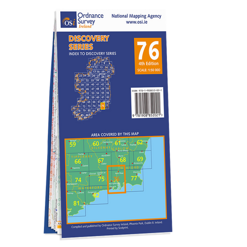Map of County Carlow, Kilkenny, Wexford and Waterford: OSI Discovery 76