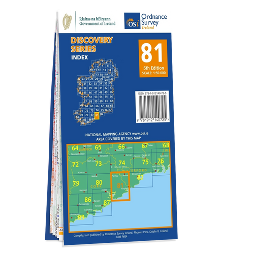 Map of County Cork and Waterford: OSI Discovery 81