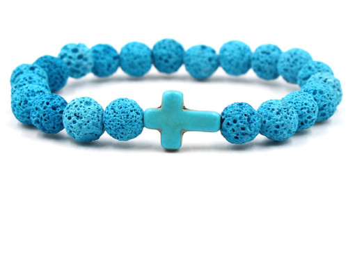 Blue Cross & Lava Diffuser Bracelet