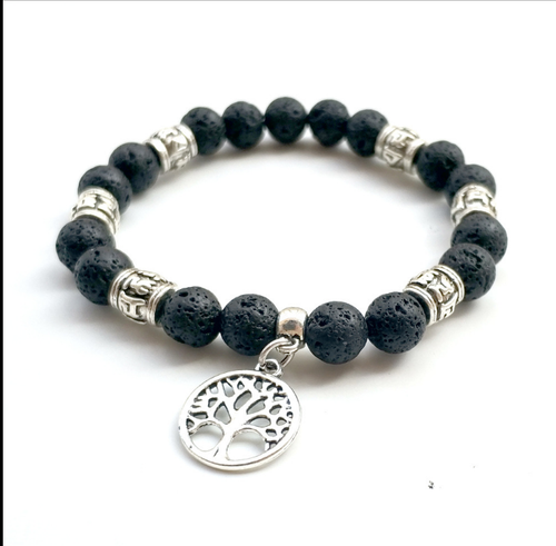 Lava Stone With Tree of Life Pendant Diffuser Bracelet