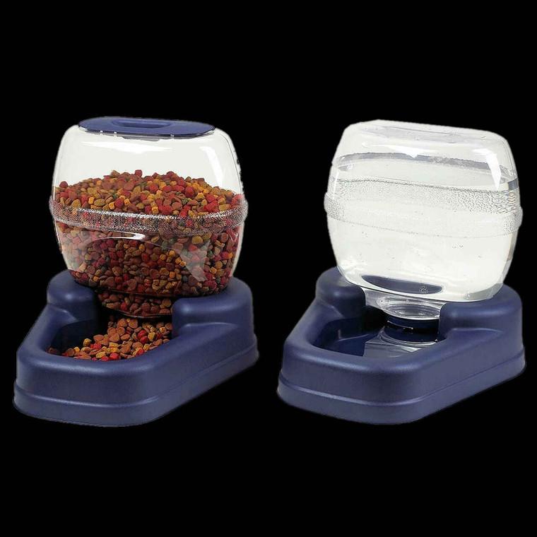 Bergan Petite Gourmet Combo Pack Pet Feeder and Waterer Blue