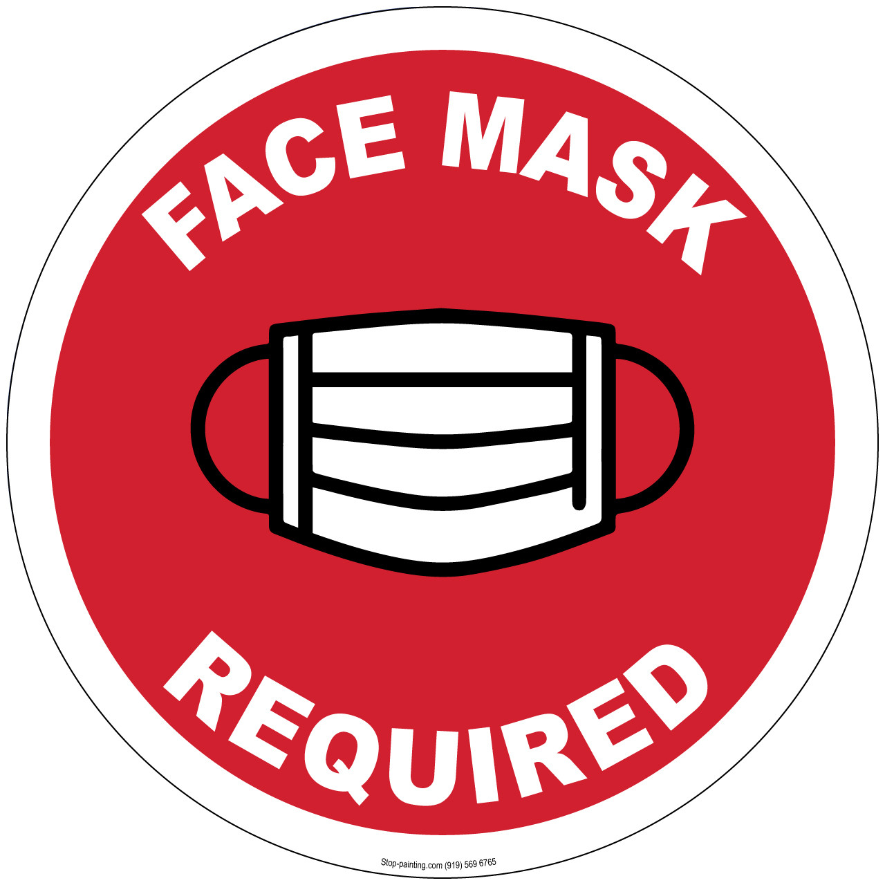"Face Mask Required Floor Sign - 13"" or 17.5"" 