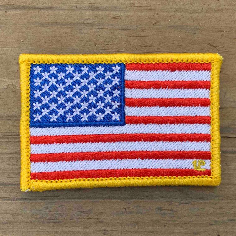 USA Flag Yellow Border 2x3 Loyalty Patch