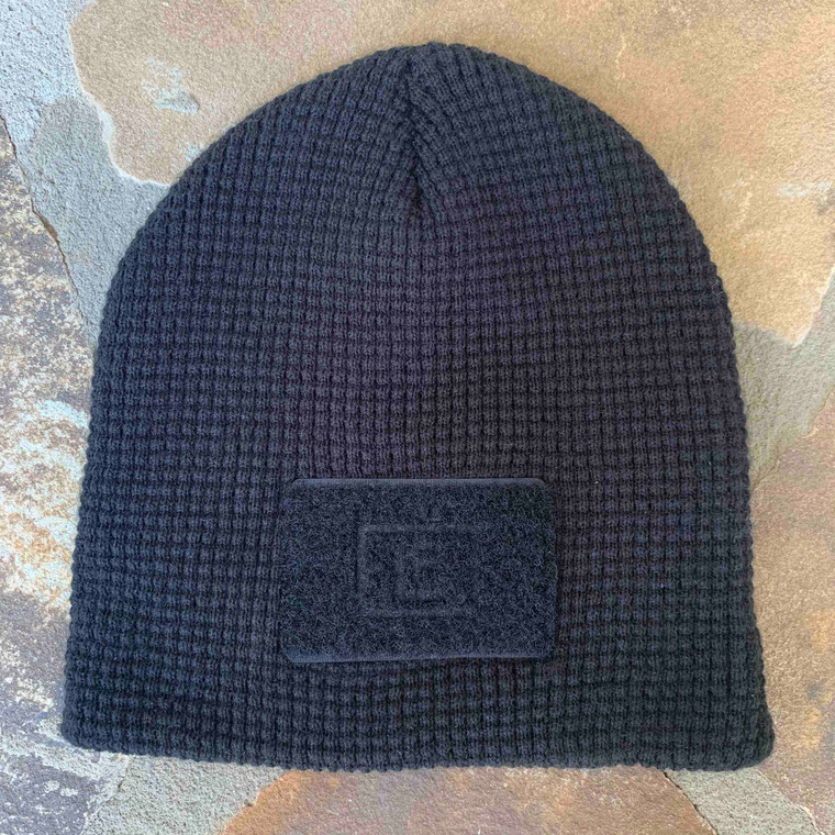 Waffle Knit Beanie - Black - Front Patch Only