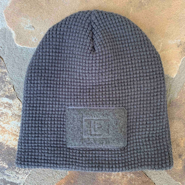 Waffle Knit Beanie - Charcoal - Front Patch Only