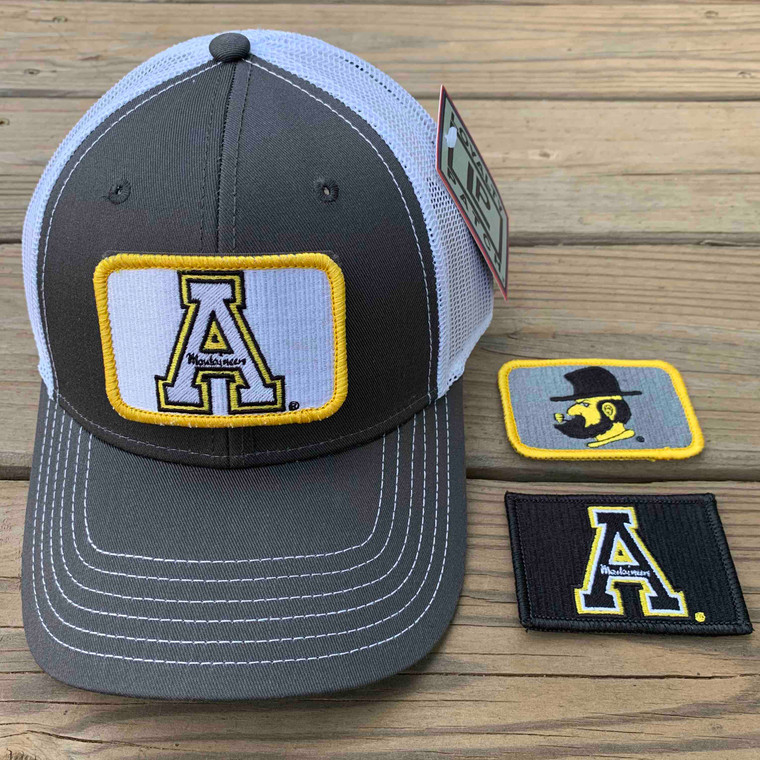 App State Gift Set - Charcoal and White Mesh Ball Cap with Three Patches