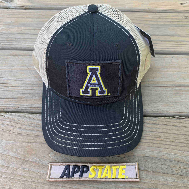 Appalachian State Gift Set - Black and Tan Mesh Ball Cap with Two Patches - Black A