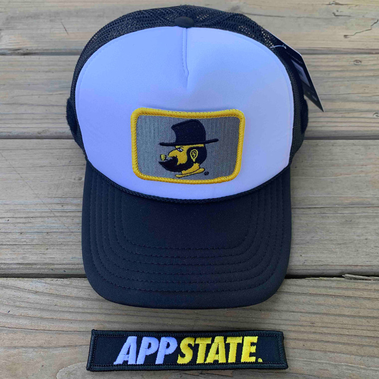 Appalachian State Gift Set - Black and White Foam Trucker with Two Patches - Yosef