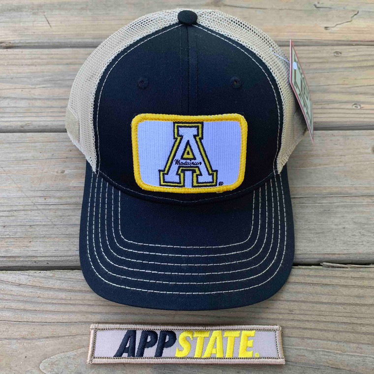 Appalachian State Gift Set - Black and Tan Mesh Ball Cap with Two Patches - White A