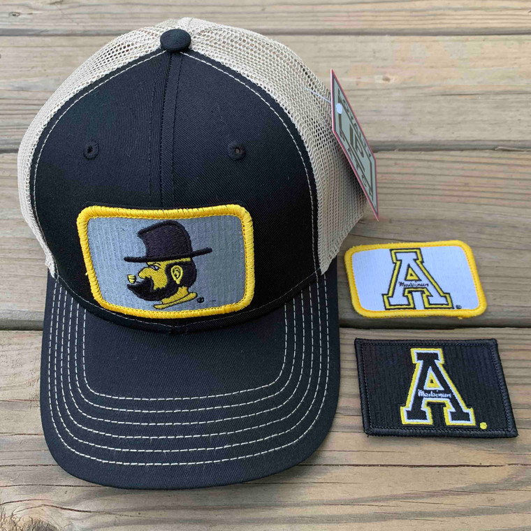 Appalachian State Gift Set - Black and Tan Mesh Ball Cap with Three Patches