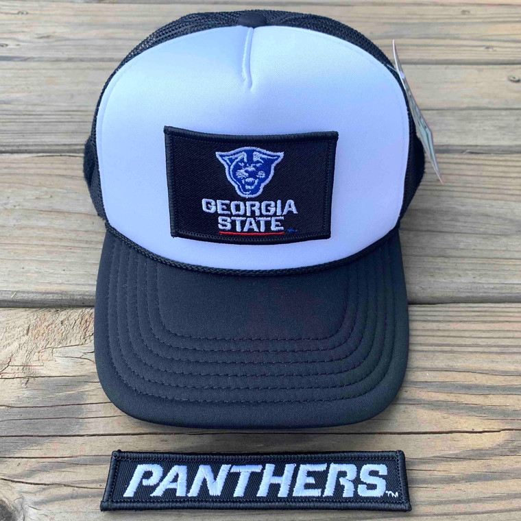 Georgia State University - Black and White Foam Trucker with Front and Back Patches 1