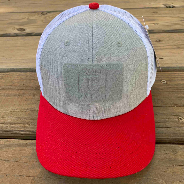 Ball Cap Red and Heather with White Mesh 1